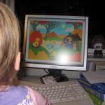 Ellen kigger på Bamse, Kylling og Ælling.