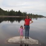 Kåre og Ellen i den lille kunstige sø